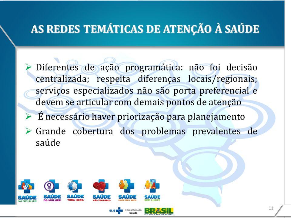 AS REDES TEMÁTICAS DE ATENÇÃO À SAÚDE Diferentes de ação programática: não foi decisão centralizada; respeita diferenças locais/regionais; serviços es