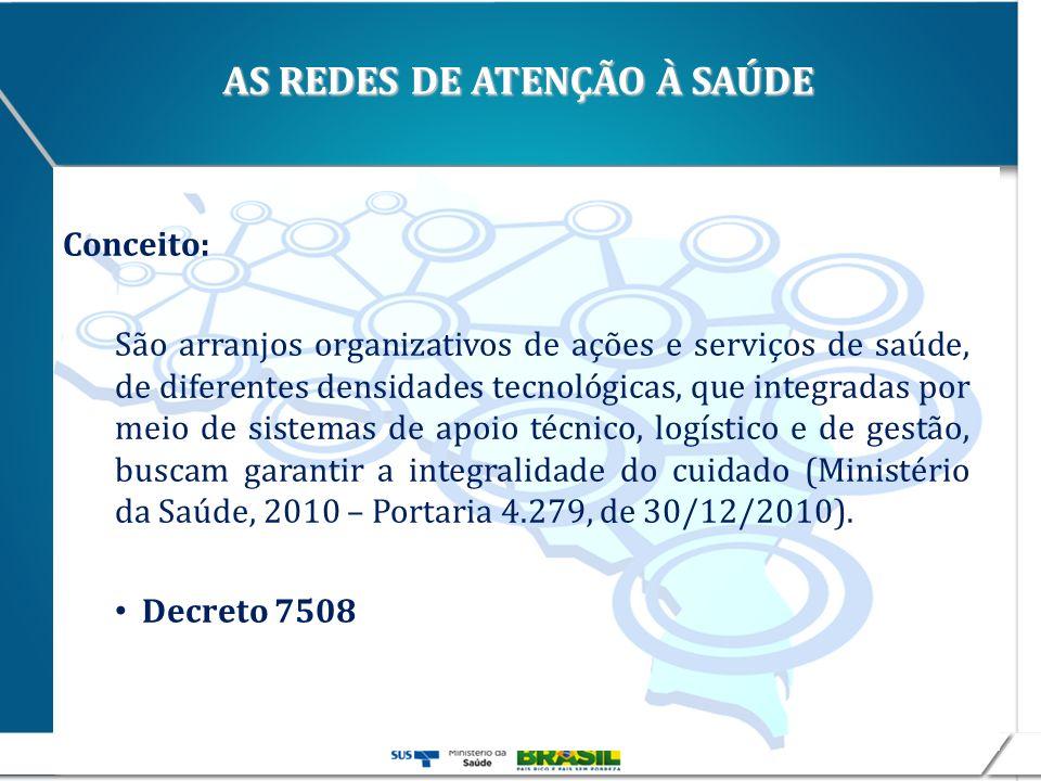 AS REDES DE ATENÇÃO À SAÚDE Conceito: São arranjos organizativos de ações e serviços de saúde, de diferentes densidades tecnológicas, que integradas p
