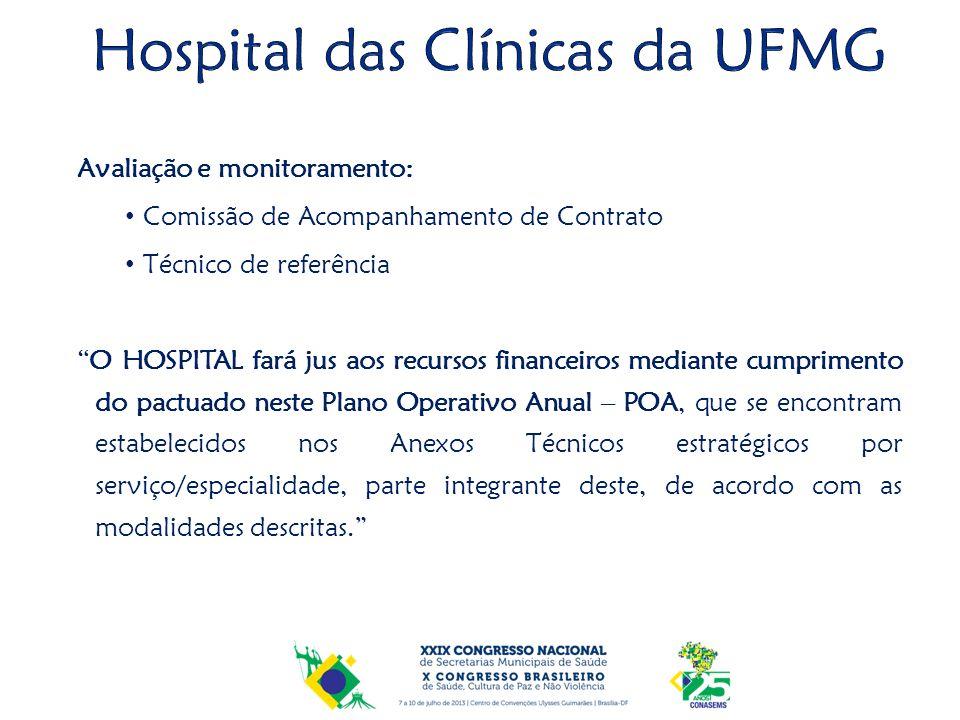 Avaliação e monitoramento: Comissão de Acompanhamento de Contrato Técnico de referência O HOSPITAL fará jus aos recursos financeiros mediante cumprime