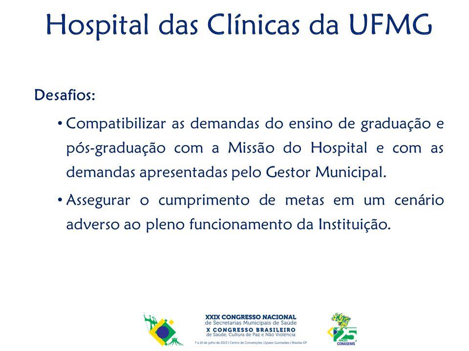 Desafios: Compatibilizar as demandas do ensino de graduação e pós-graduação com a Missão do Hospital e com as demandas apresentadas pelo Gestor Munici