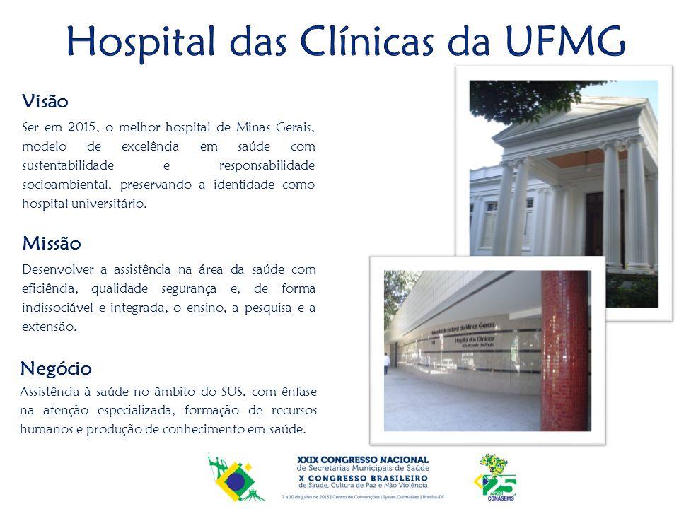 Missão Desenvolver a assistência na área da saúde com eficiência, qualidade segurança e, de forma indissociável e integrada, o ensino, a pesquisa e a