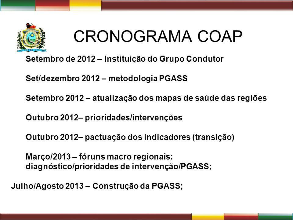 CRONOGRAMA COAP Setembro de 2012 – Instituição do Grupo Condutor Set/dezembro 2012 – metodologia PGASS Setembro 2012 – atualização dos mapas de saúde