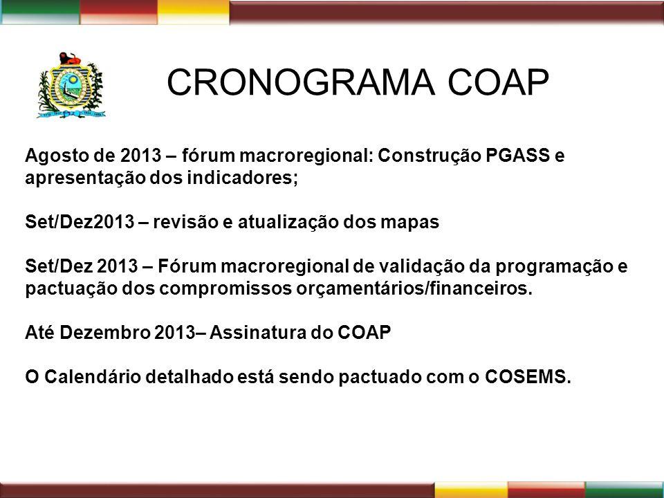 CRONOGRAMA COAP Agosto de 2013 – fórum macroregional: Construção PGASS e apresentação dos indicadores; Set/Dez2013 – revisão e atualização dos mapas S