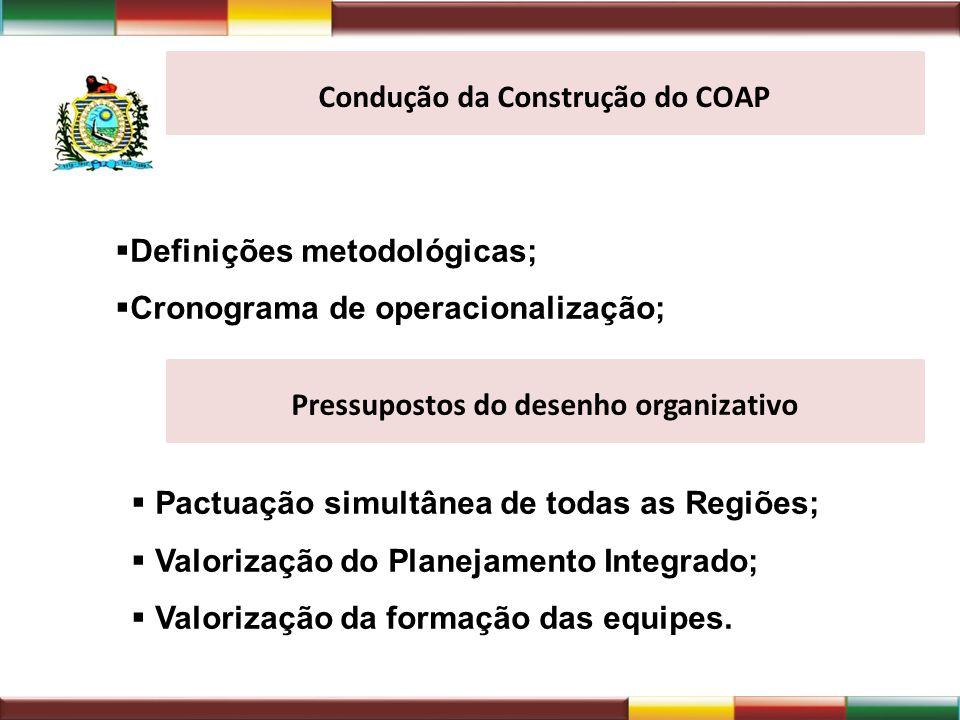 Definições metodológicas; Cronograma de operacionalização; Condução da Construção do COAP Pressupostos do desenho organizativo Pactuação simultânea de