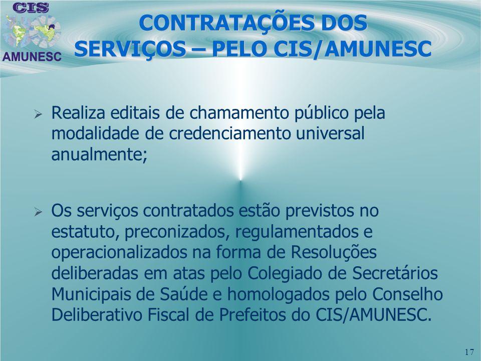 17 CONTRATAÇÕES DOS SERVIÇOS – PELO CIS/AMUNESC Realiza editais de chamamento público pela modalidade de credenciamento universal anualmente; Os servi