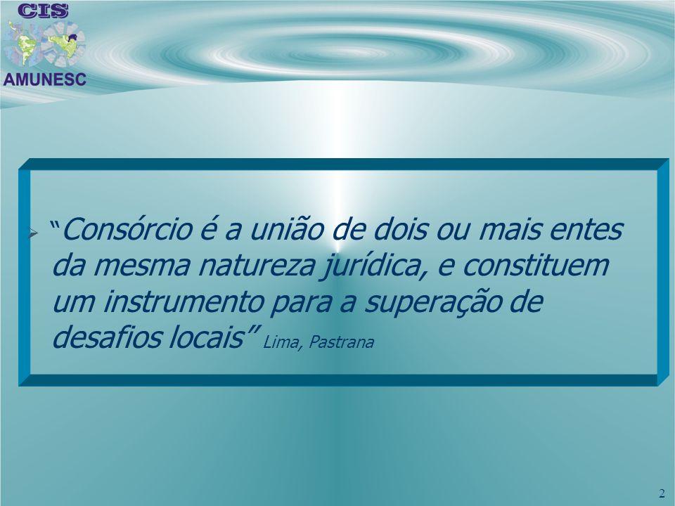 2 Consórcio é a união de dois ou mais entes da mesma natureza jurídica, e constituem um instrumento para a superação de desafios locais Lima, Pastrana