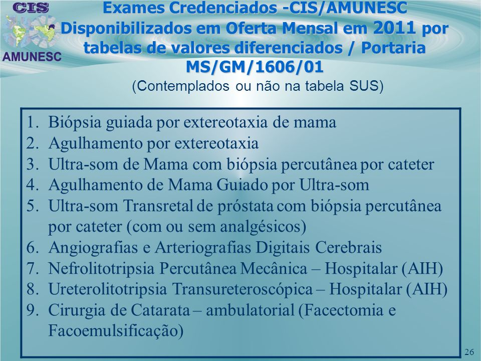 26 (Contemplados ou não na tabela SUS) Exames Credenciados -CIS/AMUNESC Disponibilizados em Oferta Mensal em 2011 por tabelas de valores diferenciados