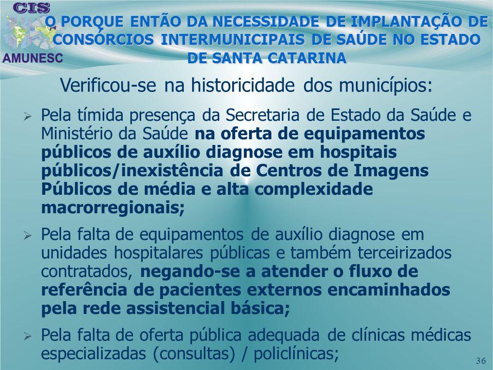 36 O PORQUE ENTÃO DA NECESSIDADE DE IMPLANTAÇÃO DE CONSÓRCIOS INTERMUNICIPAIS DE SAÚDE NO ESTADO DE SANTA CATARINA Verificou-se na historicidade dos m