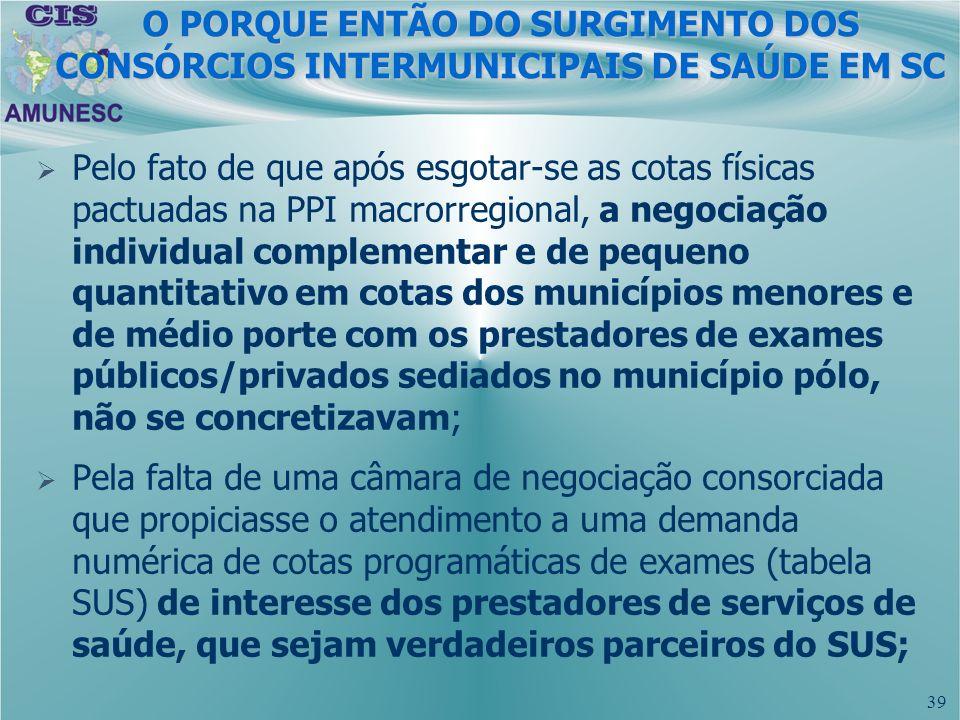 39 Pelo fato de que após esgotar-se as cotas físicas pactuadas na PPI macrorregional, a negociação individual complementar e de pequeno quantitativo e