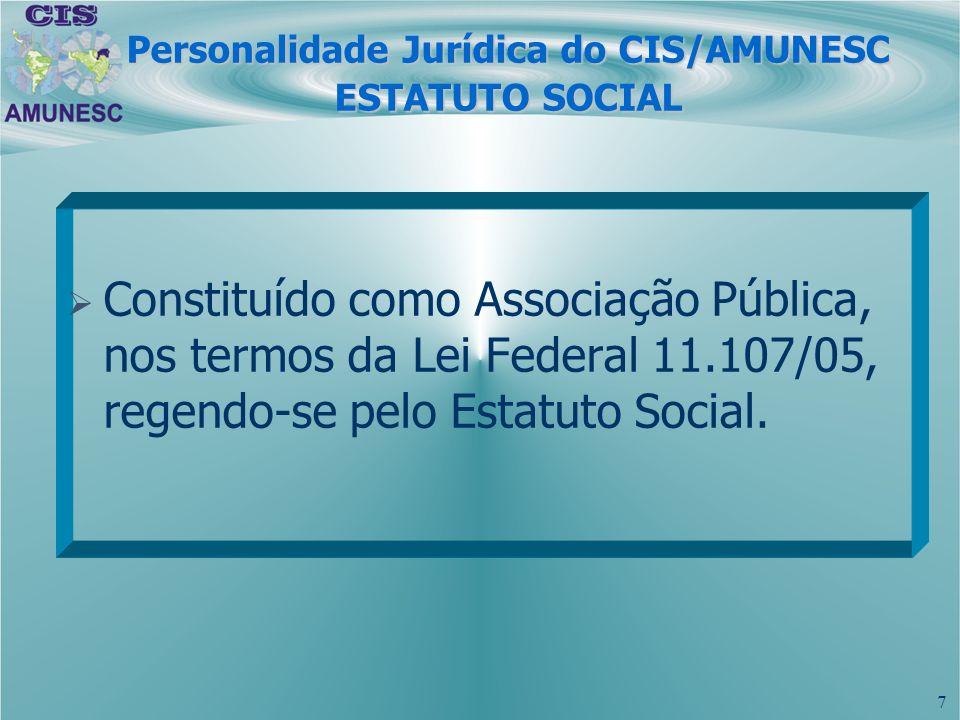 8 Personalidade Jurídica do CIS/AMUNESC ESTATUTO SOCIAL 1999 à 2004: Consórcio Administrativo constituído sob a forma de sociedade jurídica de direito privado, sem fins lucrativos, devendo reger-se pelas normas do Código Civil Brasileiro, demais legislação correlata ao seu objetivo.