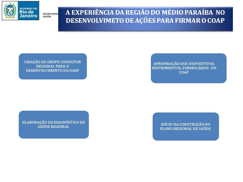 A EXPERIÊNCIA DA REGIÃO DO MÉDIO PARAÍBA NO DESENVOLVIMETO DE AÇÕES PARA FIRMAR O COAP INÍCIO DA CONSTRUÇÃO DO PLANO REGIONAL DE SAÚDE CRIAÇÃO DE GRUP