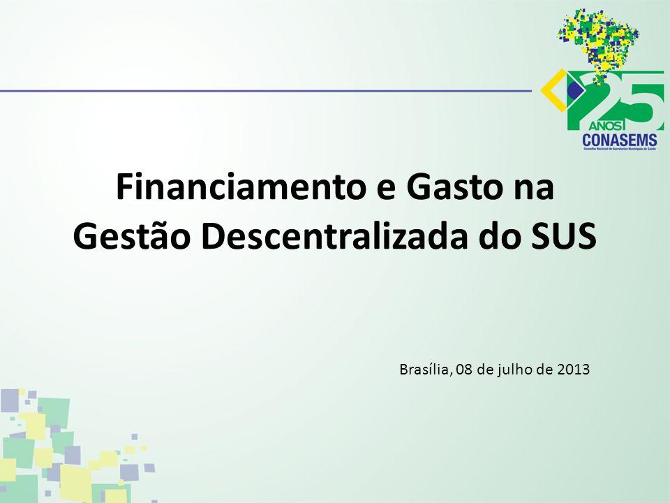 Financiamento e Gasto na Gestão Descentralizada do SUS Brasília, 08 de julho de 2013