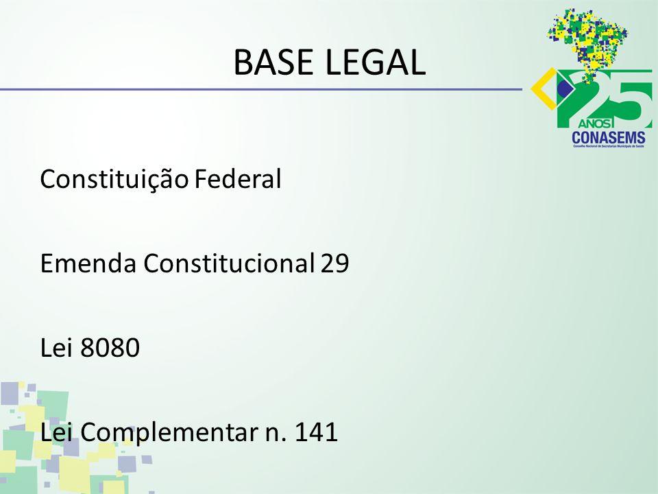 BASE LEGAL Constituição Federal Emenda Constitucional 29 Lei 8080 Lei Complementar n. 141