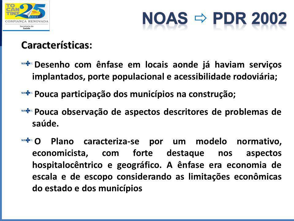 Características Características: Desenho com ênfase em locais aonde já haviam serviços implantados, porte populacional e acessibilidade rodoviária; Po