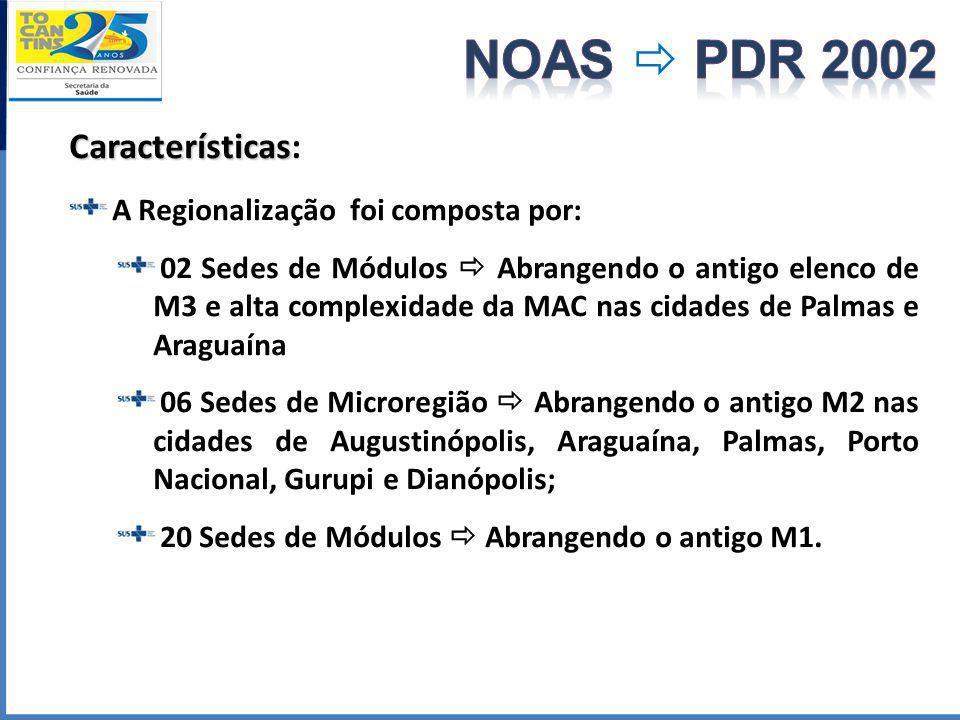Características Características: A Regionalização foi composta por: 02 Sedes de Módulos Abrangendo o antigo elenco de M3 e alta complexidade da MAC na