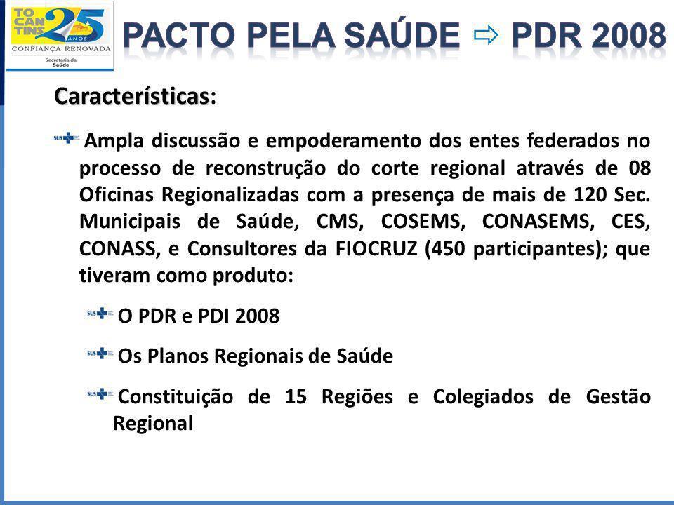 Características Características: Ampla discussão e empoderamento dos entes federados no processo de reconstrução do corte regional através de 08 Ofici
