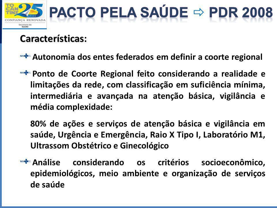 Características Características: Autonomia dos entes federados em definir a coorte regional Ponto de Coorte Regional feito considerando a realidade e