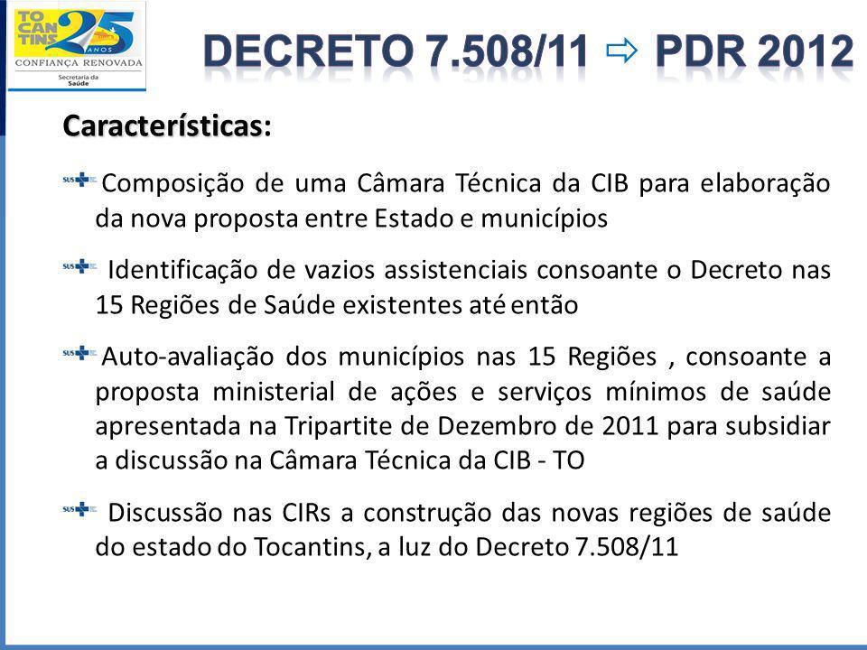 Características Características: Composição de uma Câmara Técnica da CIB para elaboração da nova proposta entre Estado e municípios Identificação de v