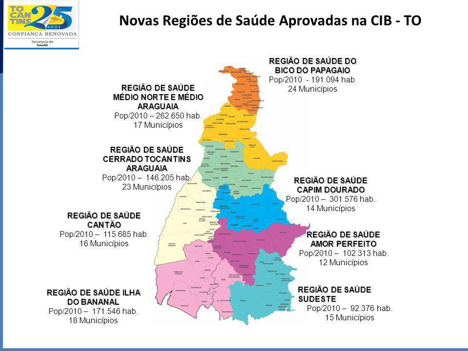 Novas Regiões de Saúde Aprovadas na CIB - TO REGIÃO DE SAÚDE ILHA DO BANANAL Pop/2010 – 171.546 hab. 18 Municípios REGIÃO DE SAÚDE MÉDIO NORTE E MÉDIO