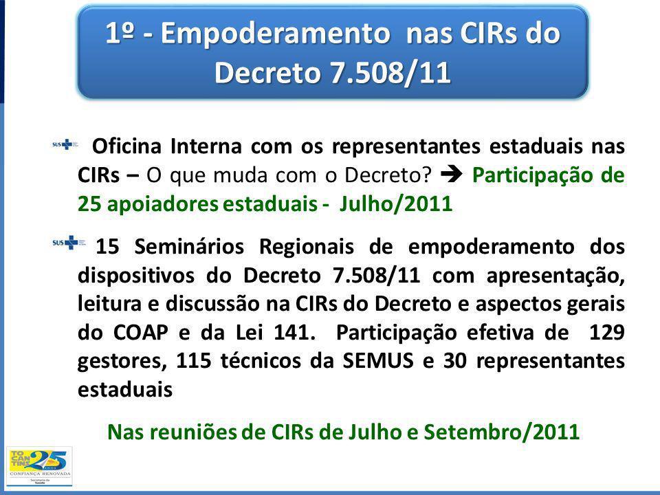 1º - Empoderamento nas CIRs do Decreto 7.508/11 Oficina Interna com os representantes estaduais nas CIRs – O que muda com o Decreto? Participação de 2