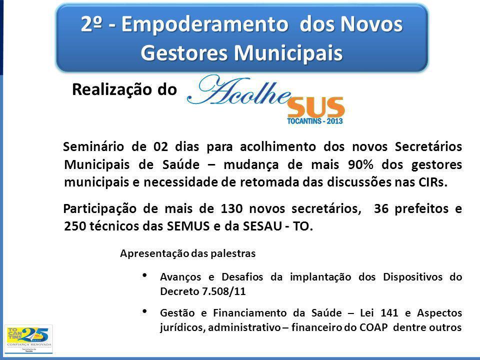 2º - Empoderamento dos Novos Gestores Municipais Realização do Seminário de 02 dias para acolhimento dos novos Secretários Municipais de Saúde – mudan