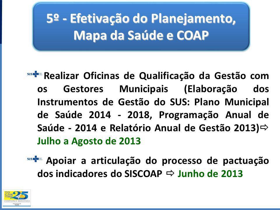 5º - Efetivação do Planejamento, Mapa da Saúde e COAP Realizar Oficinas de Qualificação da Gestão com os Gestores Municipais (Elaboração dos Instrumen