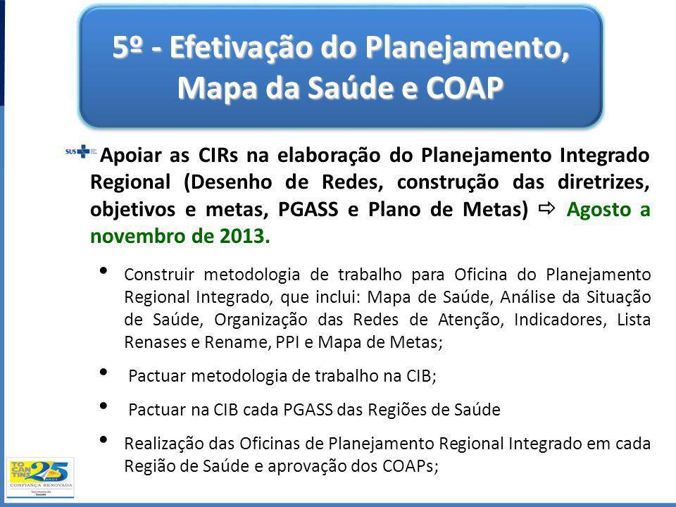 5º - Efetivação do Planejamento, Mapa da Saúde e COAP Apoiar as CIRs na elaboração do Planejamento Integrado Regional (Desenho de Redes, construção da