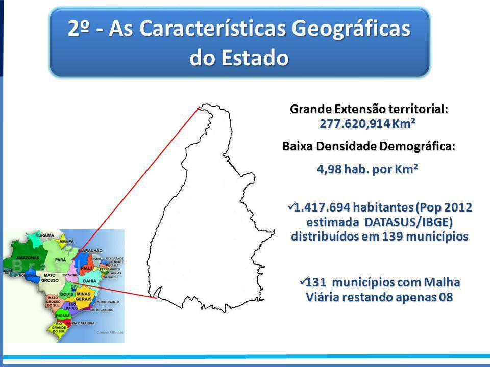 Grande Extensão territorial: 277.620,914 Km² Grande Extensão territorial: 277.620,914 Km² Baixa Densidade Demográfica: Baixa Densidade Demográfica: 4,