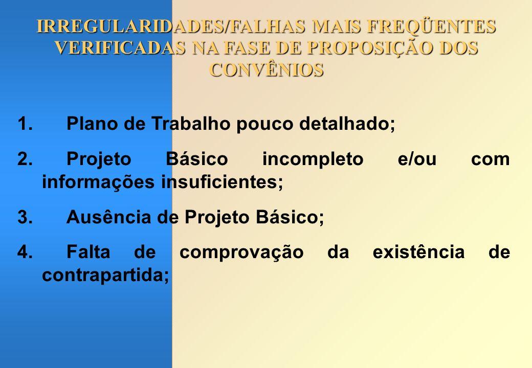 IRREGULARIDADES/FALHAS MAIS FREQÜENTES VERIFICADAS NA FASE DE PROPOSIÇÃO DOS CONVÊNIOS 1.Plano de Trabalho pouco detalhado; 2.Projeto Básico incomplet