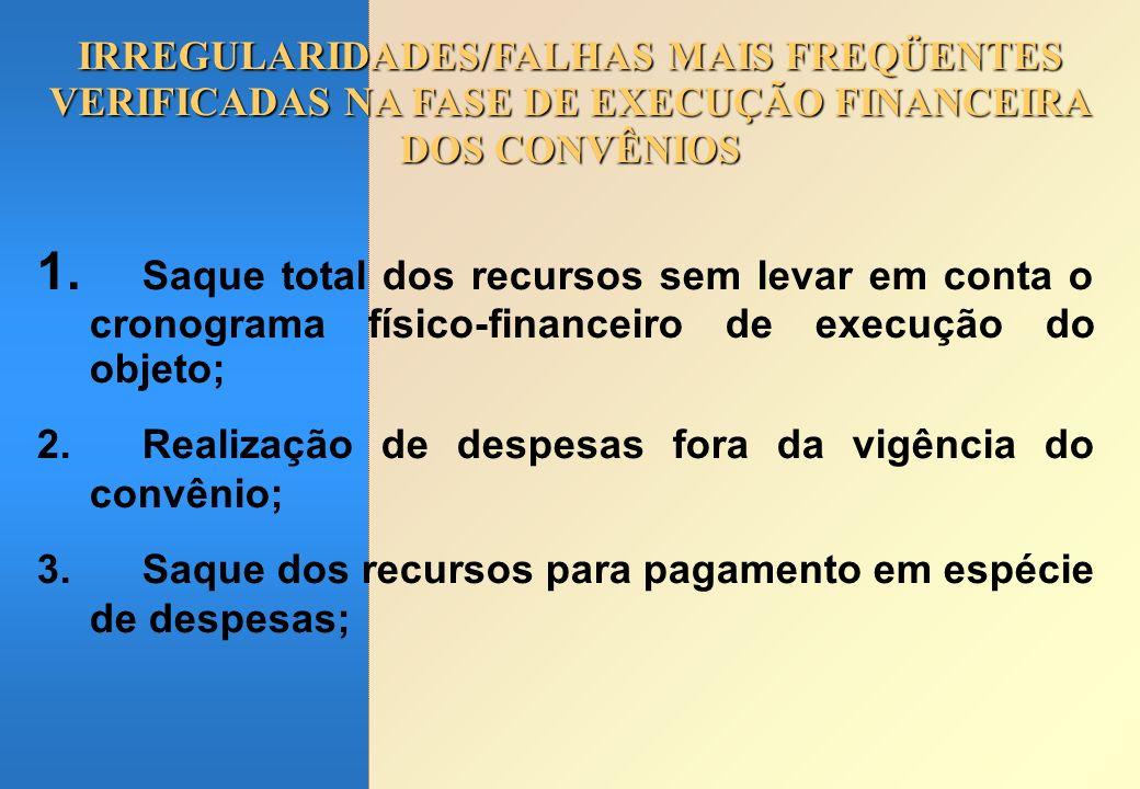 IRREGULARIDADES/FALHAS MAIS FREQÜENTES VERIFICADAS NA FASE DE EXECUÇÃO FINANCEIRA DOS CONVÊNIOS 1.