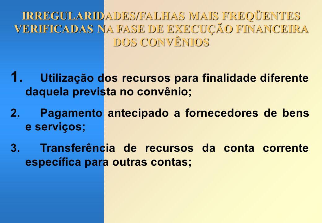 IRREGULARIDADES/FALHAS MAIS FREQÜENTES VERIFICADAS NA FASE DE EXECUÇÃO FINANCEIRA DOS CONVÊNIOS 1. Utilização dos recursos para finalidade diferente d
