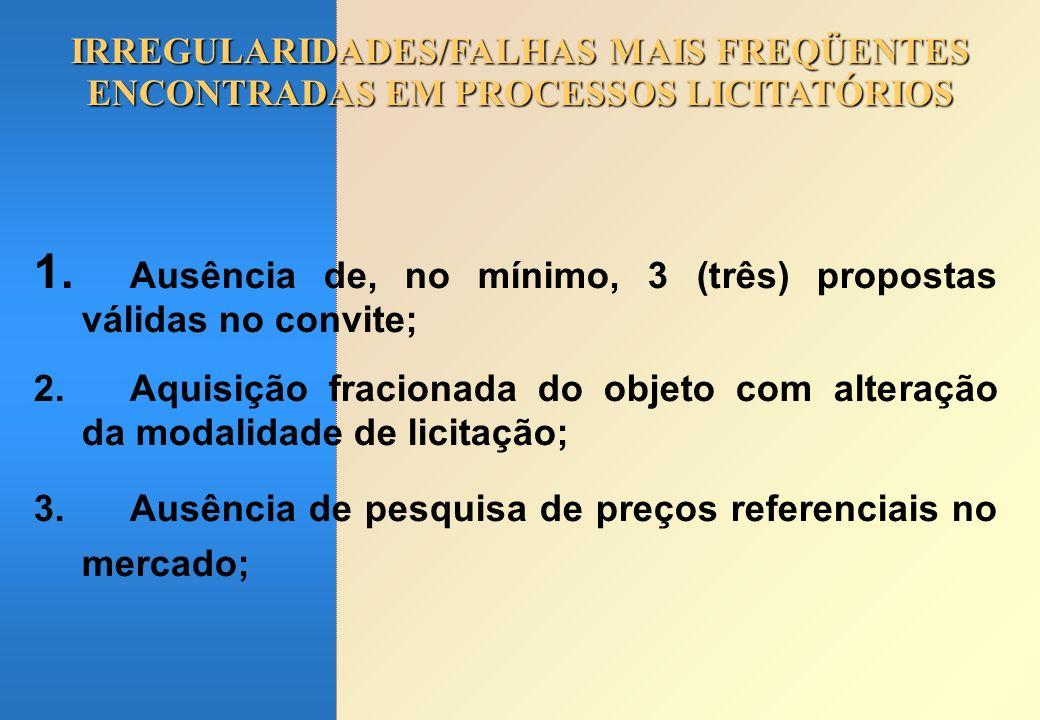 IRREGULARIDADES/FALHAS MAIS FREQÜENTES ENCONTRADAS EM PROCESSOS LICITATÓRIOS 1. Ausência de, no mínimo, 3 (três) propostas válidas no convite; 2.Aquis