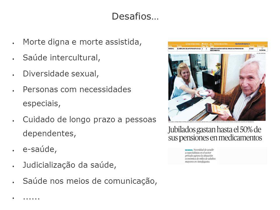 Desafios… Morte digna e morte assistida, Saúde intercultural, Diversidade sexual, Personas com necessidades especiais, Cuidado de longo prazo a pessoa