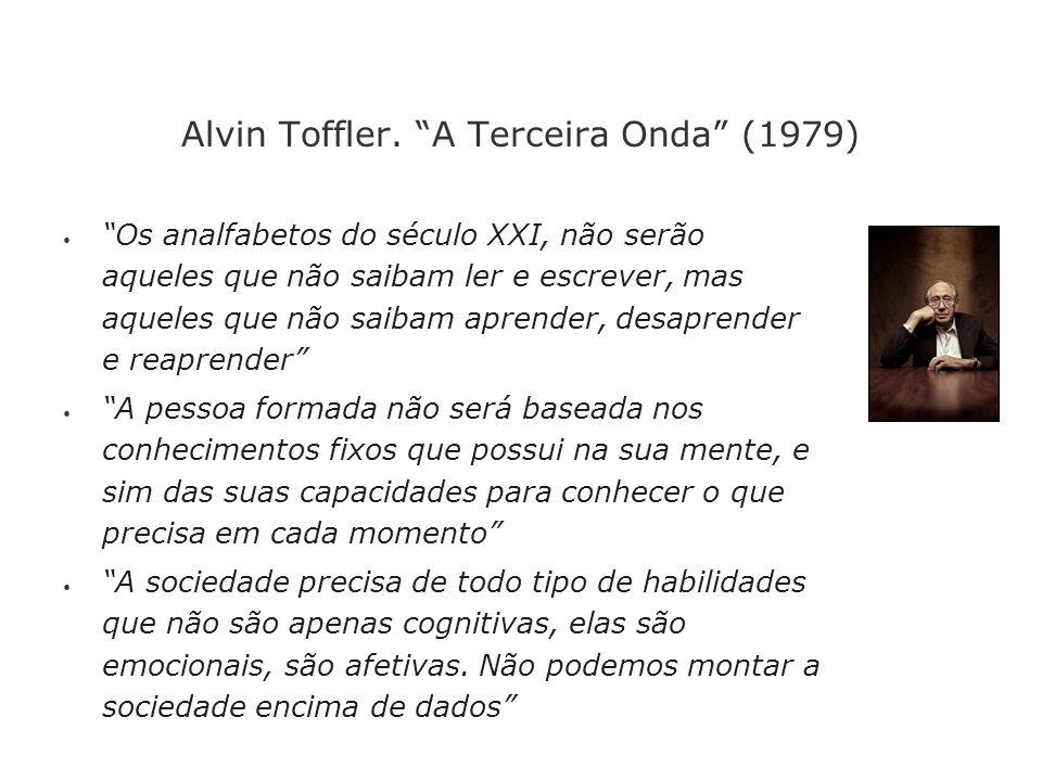 Alvin Toffler. A Terceira Onda (1979) Os analfabetos do século XXI, não serão aqueles que não saibam ler e escrever, mas aqueles que não saibam aprend