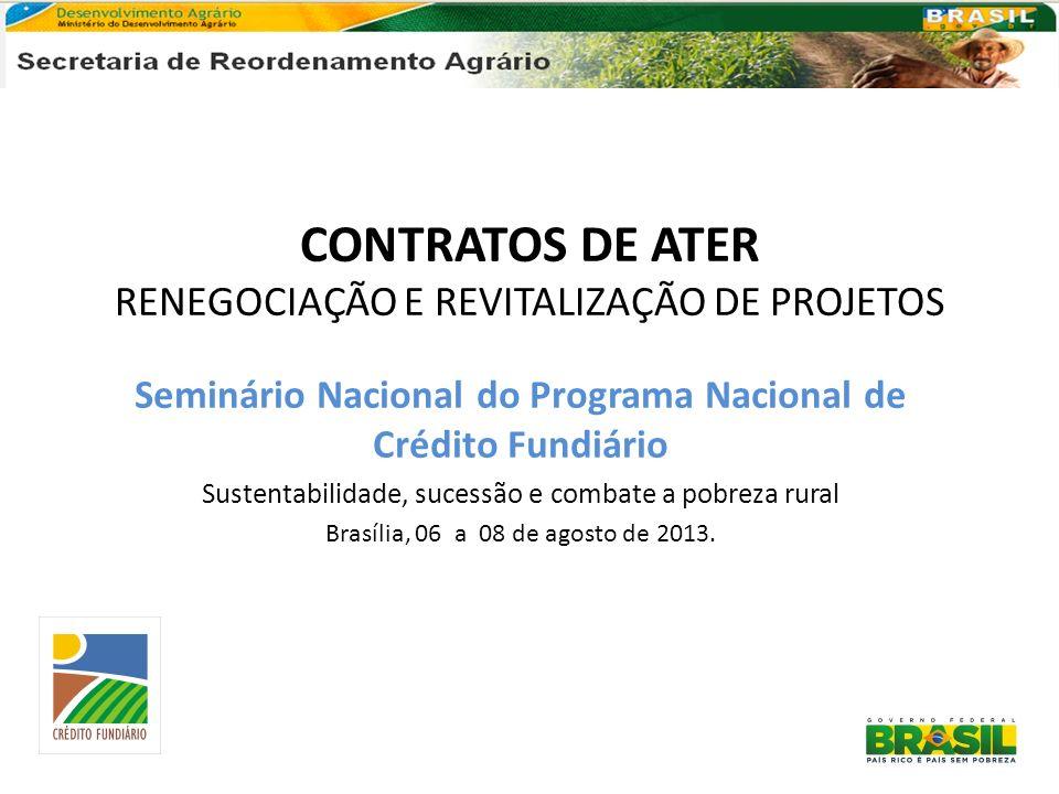 CONTRATOS DE ATER RENEGOCIAÇÃO E REVITALIZAÇÃO DE PROJETOS Seminário Nacional do Programa Nacional de Crédito Fundiário Sustentabilidade, sucessão e c