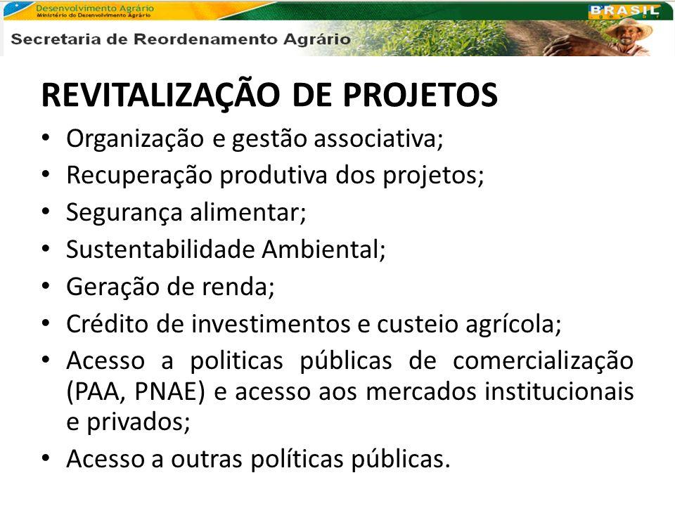 REVITALIZAÇÃO DE PROJETOS Organização e gestão associativa; Recuperação produtiva dos projetos; Segurança alimentar; Sustentabilidade Ambiental; Geraç