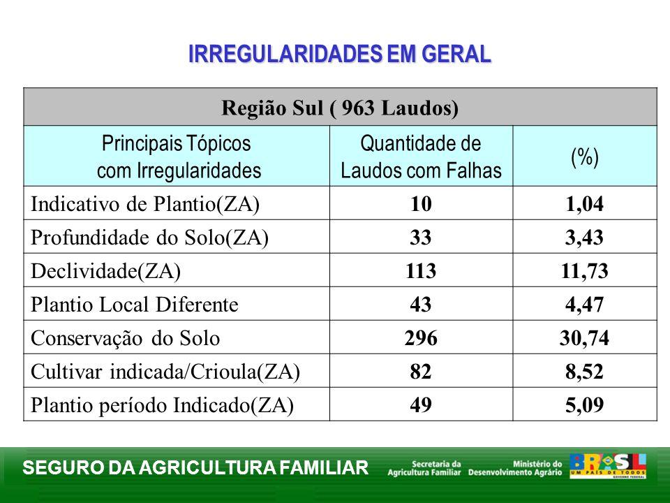 SEGURO DA AGRICULTURA FAMILIAR Região Sul ( 963 Laudos) Principais Tópicos com Irregularidades Quantidade de Laudos com Falhas (%) Indicativo de Plant