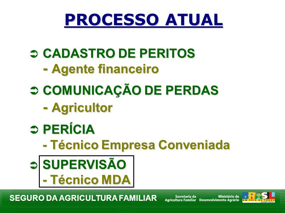 SEGURO DA AGRICULTURA FAMILIAR PROCESSO ATUAL CADASTRO DE PERITOS - Agente financeiro COMUNICAÇÃO DE PERDAS - Agricultor PERÍCIA - Técnico Empresa Con