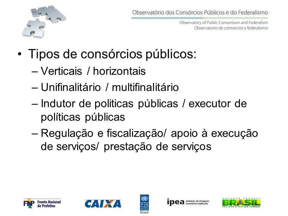 Tipos de consórcios públicos: –Verticais / horizontais –Unifinalitário / multifinalitário –Indutor de politicas públicas / executor de políticas públi