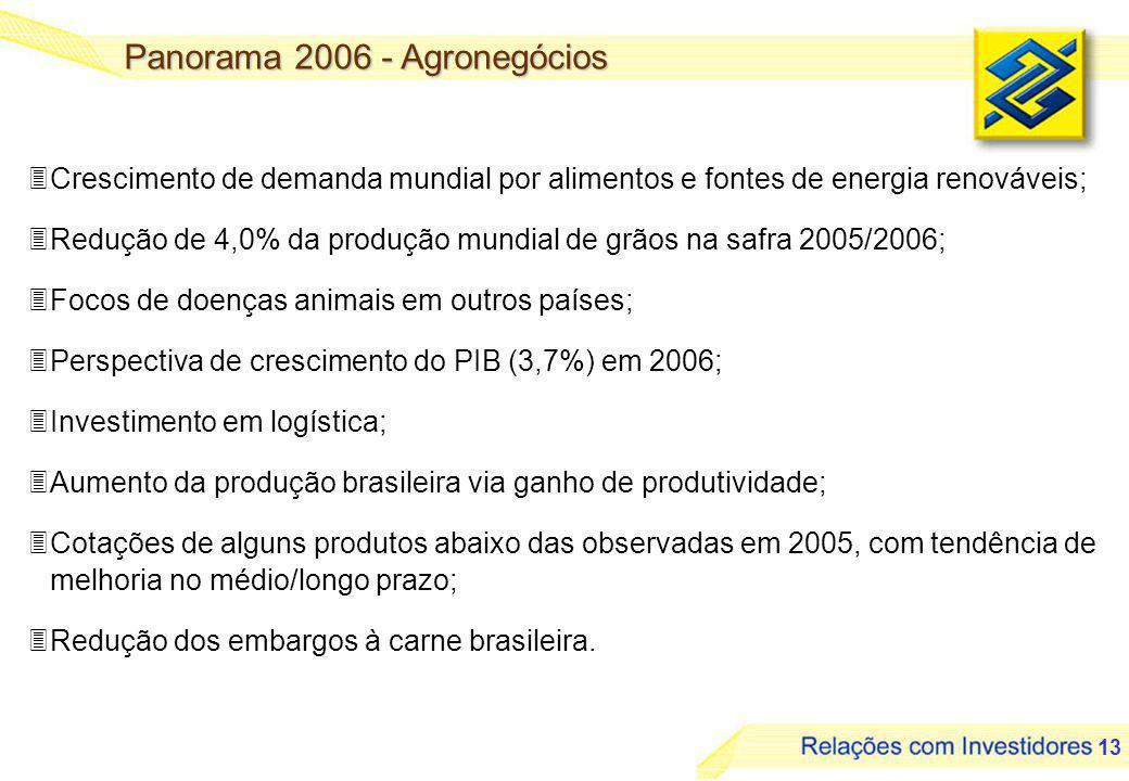 13 3Crescimento de demanda mundial por alimentos e fontes de energia renováveis; 3Redução de 4,0% da produção mundial de grãos na safra 2005/2006; 3Focos de doenças animais em outros países; 3Perspectiva de crescimento do PIB (3,7%) em 2006; 3Investimento em logística; 3Aumento da produção brasileira via ganho de produtividade; 3Cotações de alguns produtos abaixo das observadas em 2005, com tendência de melhoria no médio/longo prazo; 3Redução dos embargos à carne brasileira.
