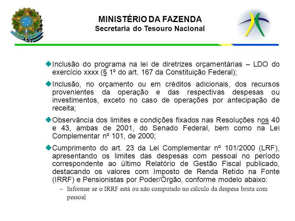 MINISTÉRIO DA FAZENDA Secretaria do Tesouro Nacional u uInclusão do programa na lei de diretrizes orçamentárias – LDO do exercício xxxx (§ 1º do art.