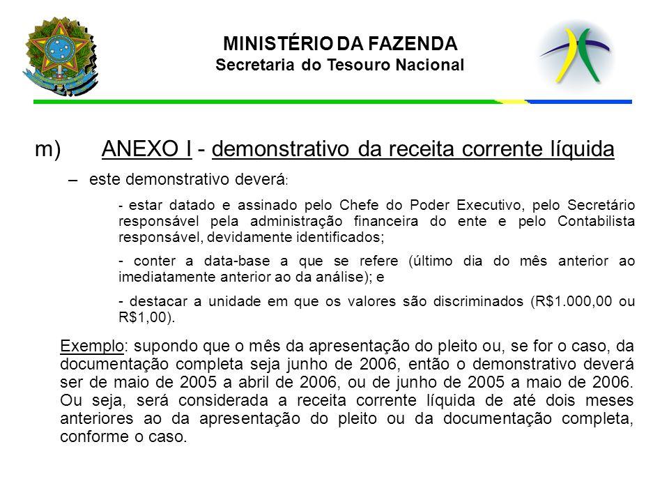 MINISTÉRIO DA FAZENDA Secretaria do Tesouro Nacional m)ANEXO I - demonstrativo da receita corrente líquida –este demonstrativo deverá : - estar datado