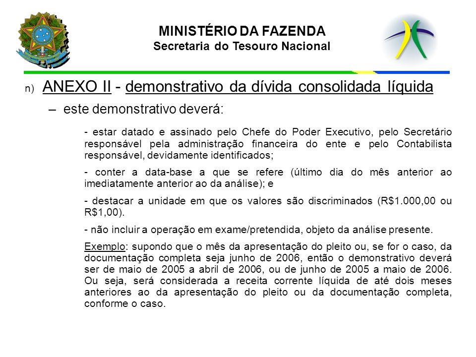 n) ANEXO II - demonstrativo da dívida consolidada líquida –este demonstrativo deverá: - estar datado e assinado pelo Chefe do Poder Executivo, pelo Se
