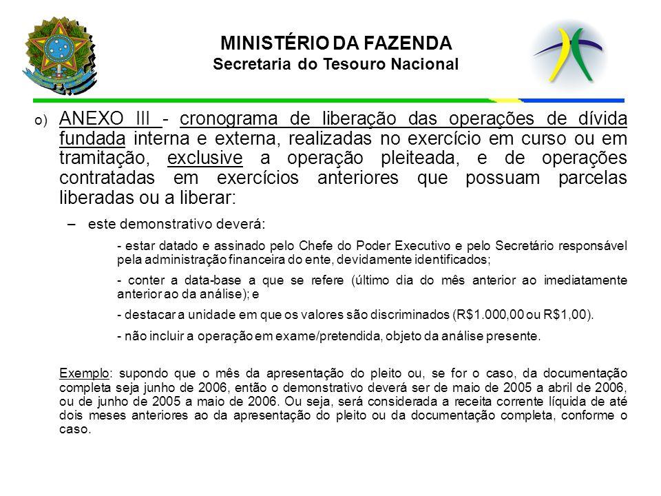 o) ANEXO III - cronograma de liberação das operações de dívida fundada interna e externa, realizadas no exercício em curso ou em tramitação, exclusive