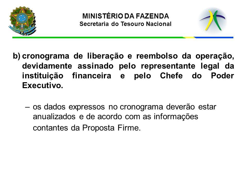b)cronograma de liberação e reembolso da operação, devidamente assinado pelo representante legal da instituição financeira e pelo Chefe do Poder Execu