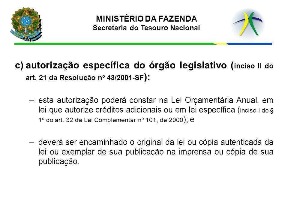 c)autorização específica do órgão legislativo ( inciso II do art. 21 da Resolução nº 43/2001-SF ): –esta autorização poderá constar na Lei Orçamentári
