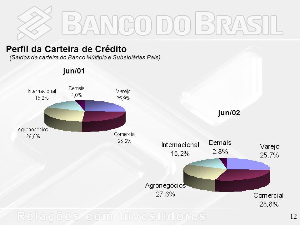 12 Perfil da Carteira de Crédito (Saldos da carteira do Banco Múltiplo e Subsidiárias País) jun/01 jun/02