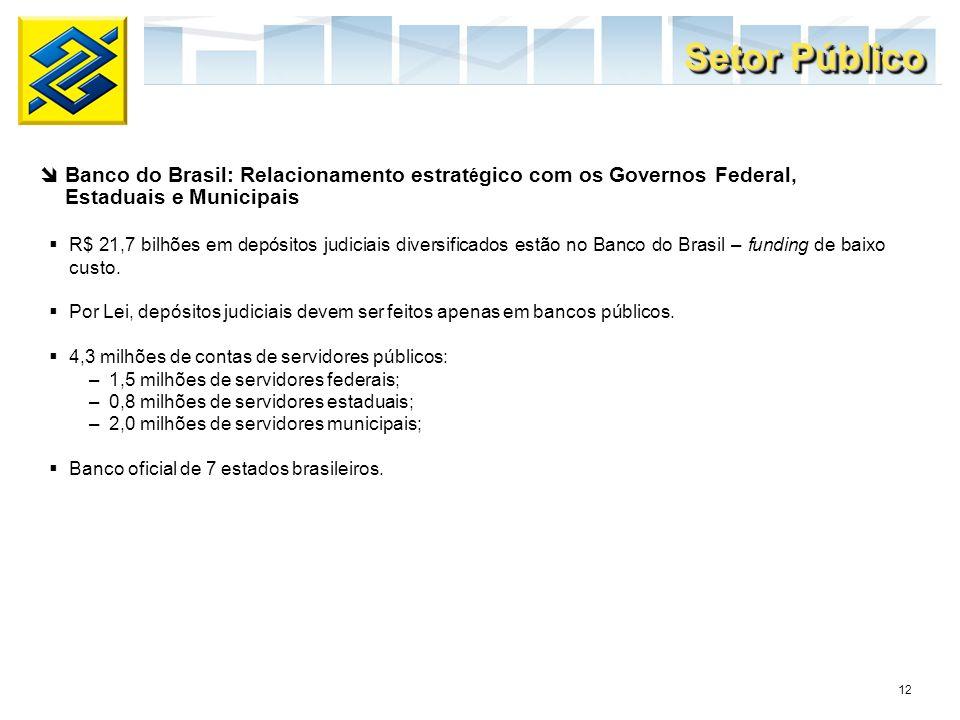 12 R$ 21,7 bilhões em depósitos judiciais diversificados estão no Banco do Brasil – funding de baixo custo. Por Lei, depósitos judiciais devem ser fei