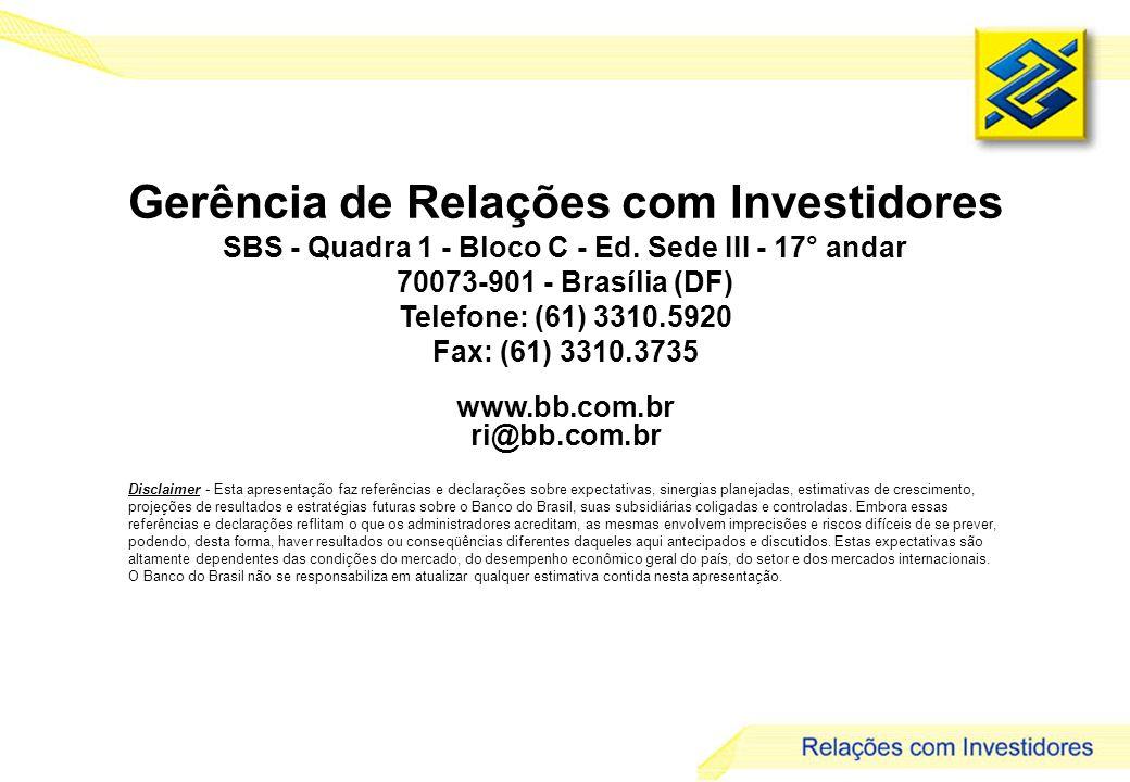 31 Gerência de Relações com Investidores SBS - Quadra 1 - Bloco C - Ed.