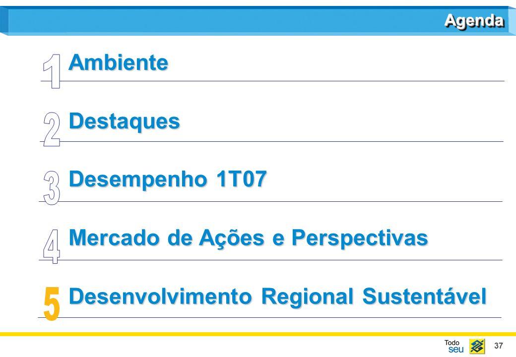 37 Destaques Mercado de Ações e Perspectivas Desenvolvimento Regional Sustentável Desenvolvimento Regional SustentávelAmbiente AgendaAgenda Desempenho